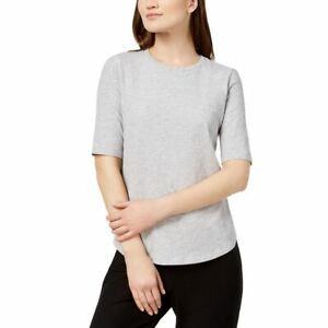 EILEEN FISHER Women's Dark Pearl Petite Slubby Organic Cotton Shirt Top PM TEDO