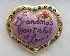 GRANDMA Heart GRANDMOTHER Purple Gold Tone Love Brooch Pin