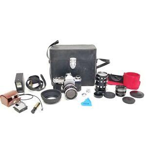 Vintage Edixa-Mat Reflex Model B Camera W Case & 3 Lenses & Misc. Bundle