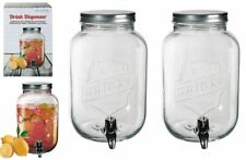 2 x Glass Drink Dispenser For Flavored Water Juice Party Punch Jar With Tap 3.5L