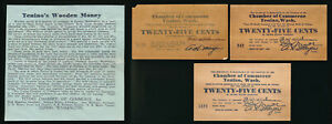 ^^RARE^^ 3 TENINO WASHINGTON WOODEN 25¢ (MARCH, MAY & AUGUST 1932) NO RESERVE