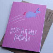 Happy Birthday Knobhead, Funny Card, Humour, Rude, Unicorn