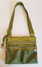 Brighton Nylon Embossed Patent Leather Faux Croc Crossbody Purse Green Hobo