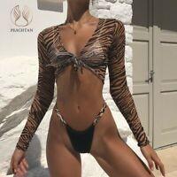 Animal print bikini 2020 3 piece female swimwear women Long sleeve Brazilian