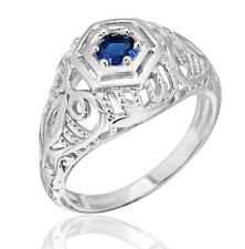 925 Sterling Silver Sapphire Engagement Edwardian Era Inspired Ring Size 6