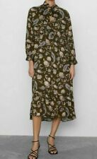 ZARA WOMAN HIGH COLLAR V-NECK PRINTED DRESS WITH BOW KHAKI S 9006/167 NEW FW19