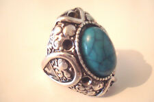 Aged Silver Tone Ornate Blue Cracked 'Stone' Statement Ring Size O