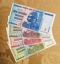 ZIMBABWE 10, 20, 50, 100 TRILLION DOLLAR SET AA 2008 SERIES UNC USA FAST SHIPPER