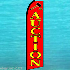 AUCTION RED SWOOPER FLAG Advertising Sign Feather Flutter Bow Banner 30-1632