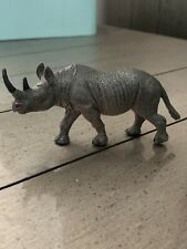 "Black Rhino Rhinoceros Pvc animal figure cake topper diorama or toy 4"" long"