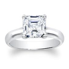 Asscher Cut White Sapphire 14k white gold 4-prong engagement ring  2 TCW