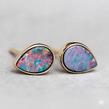 Rainbow Color Pear Shaped Australian Doublet Black Opal Stud Earrings 14K Gold