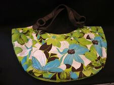O'NEILL Floral Navy Lime Turquoise Roomy Slouchy Hobo Bag Canvas Handbag Zipper