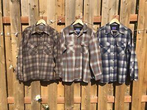 Pendleton Wool Dress Shirt lot 3 Flannel Vintage Western Country