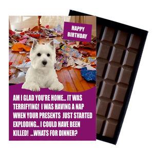 West Highland Terrier Birthday Card Dog Lover Gift Idea 100g Chocolate Him Her