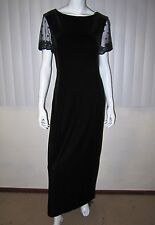 ROBBIE BEE VELOUR LBD  MAXI LACE SHORT SLEEVE DRESS SIZE 14 SOLID BLACK