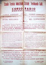 1956 MANIFESTO CON CORSO RADIO TELEVISORI RADIOTELEGRAFISTI A BIBBIENA DI AREZZO