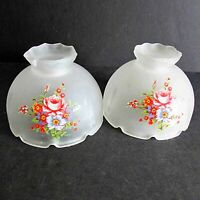 "2 Vintage Frosted Floral Glass Lamp Shade Globes Light Cover 4.75"" wide FREE SH"