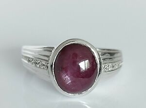 Beautiful Chunky 925 Sterling Silver & Natural Star Ruby Solitaire Ring UK Y/Z