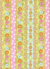 Easter Flowers & Eggs Stripe 1 Fat Quarter quilting cotton fabric quilt glitter