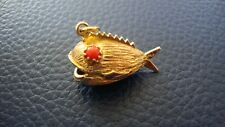 14k YELLOW GOLD TEXTURED FISH WITH RED CORAL VINTAGE Charm Pendant 5.3 GRAMS .