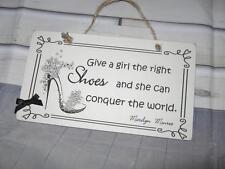 Handmade Wall Plaque Marilyn Monroe Shoe Quote .Birthday..Thank you..
