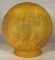"New 3 1/4"" Fitter Art Deco Amber Crackle Glass Ball Globe Lamp Shade #CS963"