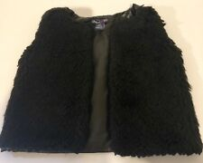 Limited Too Toddler Girls 4T Solid Black Fuzzy Faux Fur Faux Leather Casual Vest