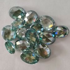 Oval Checkerboard Loose Moissanite For Ring 2.04 Ct 9.16x7.22 Mm Vvs1 Green Blue
