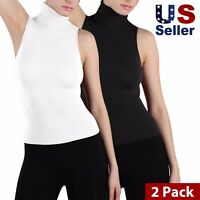 2-Pack Women Sleeveless Mock Neck Turtleneck Body Shaping Tank Top Tee Shirts