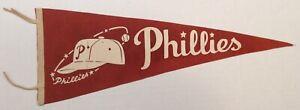 """Vintage 1950's Philadelphia Phillies 30"""" Felt Baseball Pennant - Red & White"""