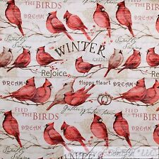 BonEful Fabric FQ Cotton Quilt White Red Cardinal Brown Country Xmas Tree Branch