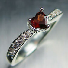 0.40ct Natural Garnet Spessartine Dark Red heart Sterling 925 silver ring