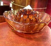 Art Deco - Amber Glass - Depression Era - Fruit Bowl and Frog - Stunning!