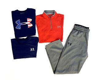 Under Armour T Shirt Mens Size Large 1/4 Zip Pullover & Sweatpants LOT OF 4!