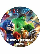 Lego Superheros 19cm Edible Icing Image Birthday Party Cake Topper Decoration
