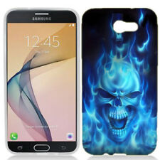 For Samsung J7 Sky PRO Flaming Skull Case Skin Cover