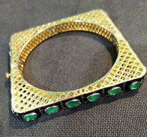 Victorian Jewelry Emerald With CZ Beads 24k Gold Plated Cuff Bangle Bracelet.