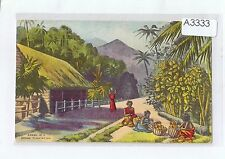 A3333pac Africa Asia Advertising Scene at Cocoa Plantation vintage postcard