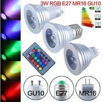 GU10 MR16 E14 E27 RGB 3W Magisch Licht LED Glühbirne Farbwechsel + Fernbedienung