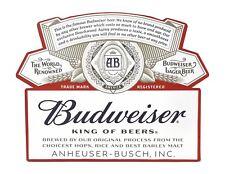 "Budweiser Label Shaped & Embossed Metal Sign, 18""x14"", Man Cave & Bar Decor"