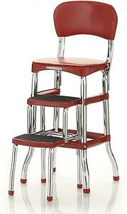 Step Stool Chair Retro Counter Padded Vintage Style Kitchen Pantry Ladder Red