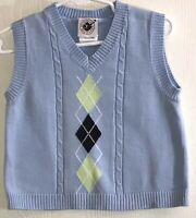 Good Lad Baby Boy's Sz 12M Sweater Vest Light Blue V-Neck Argyle Front Cotton