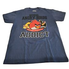 Official Angry Birds Addict Game Graphic Tee Shirt Men's Large Blue 100% Cotton