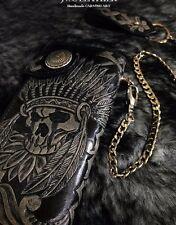 Indian skull black men biker long wallet handmade genuine leather L20