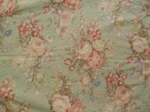 """RALPH LAUREN Charlotte Green Floral Flowers """"shabby chic"""" Queen Flat Sheet"""