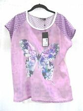 LADIES TOP BY KLASS LARGE IN PURPLE WITH BUTTERFLY DESIGN AND SHORT SLEEVE