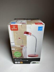 Globe Electric Company 12644 LED Desk Lamp, Red NEW