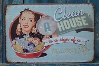 Collectibles Clean HOUSE is a sign Vintage Metal Tin Signs Home Wall Decor