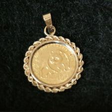 1990 China Panda 10 Yuan Gold Coin Pendant | 14K Gold Rope Diamond Cut Bezel